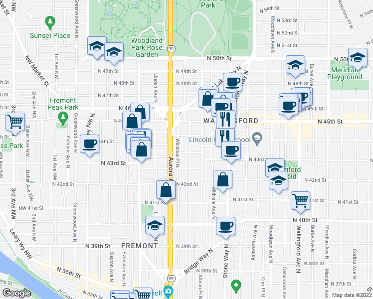 map of restaurants, bars, coffee shops, grocery stores, and more near 4301 Whitman Avenue North in Seattle