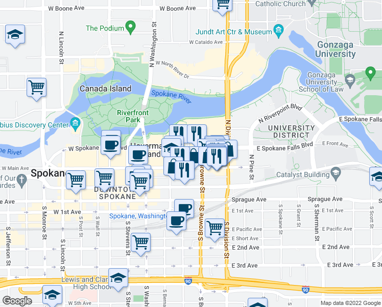 map of restaurants, bars, coffee shops, grocery stores, and more near 217 West Spokane Falls Boulevard in Spokane