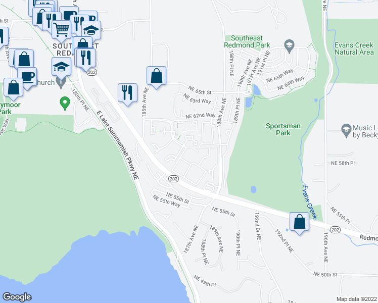 map of restaurants, bars, coffee shops, grocery stores, and more near 18666 Redmond Way in Redmond
