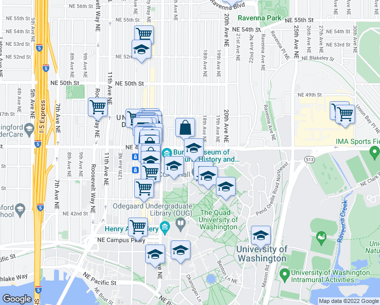 map of restaurants, bars, coffee shops, grocery stores, and more near 4499 Memorial Way NE in Seattle