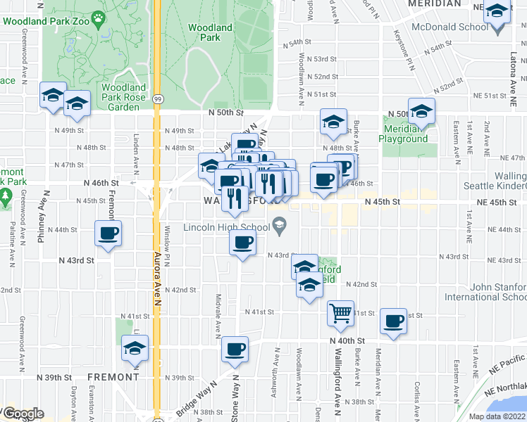 map of restaurants, bars, coffee shops, grocery stores, and more near 4455 Interlake Avenue North in Seattle