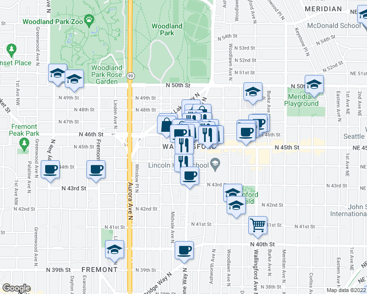 map of restaurants, bars, coffee shops, grocery stores, and more near North 45th Street in Seattle