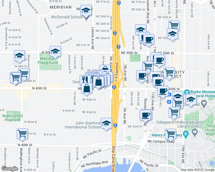 map of restaurants, bars, coffee shops, grocery stores, and more near 400 Northeast 45th Street in Seattle