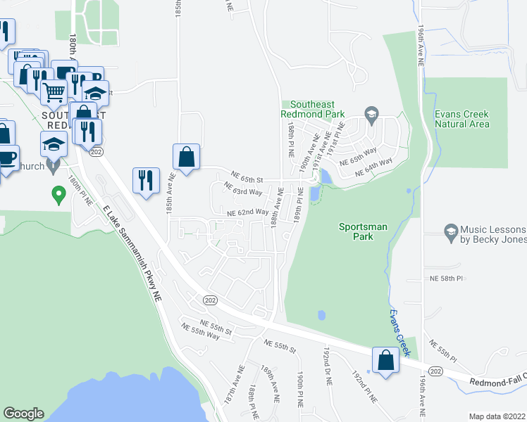 map of restaurants, bars, coffee shops, grocery stores, and more near 6200 188th Lane Northeast in Redmond