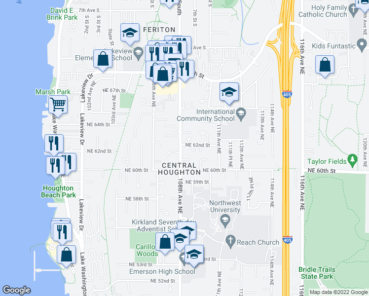 map of restaurants, bars, coffee shops, grocery stores, and more near 10803 Northeast 62nd Street in Kirkland