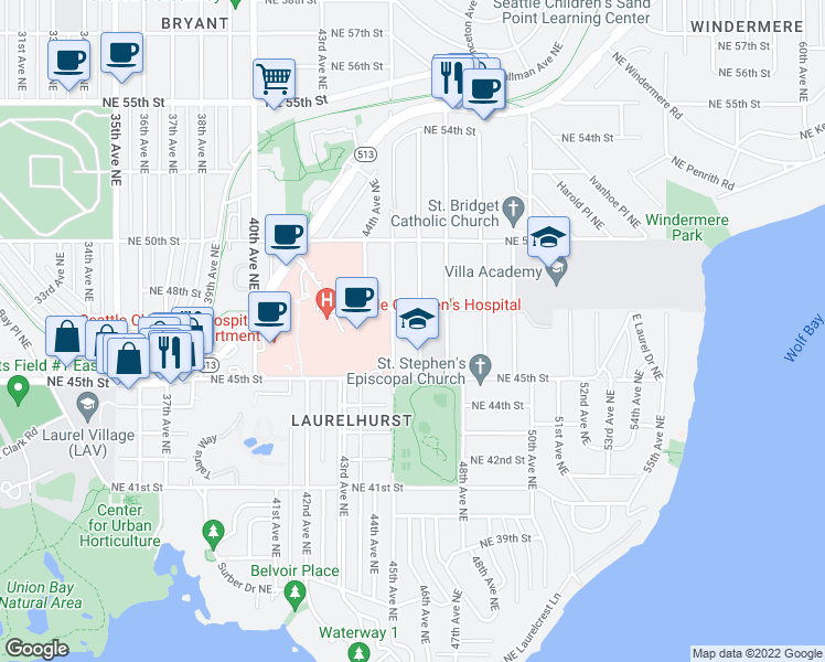 map of restaurants, bars, coffee shops, grocery stores, and more near 4541 46th Avenue Northeast in Seattle