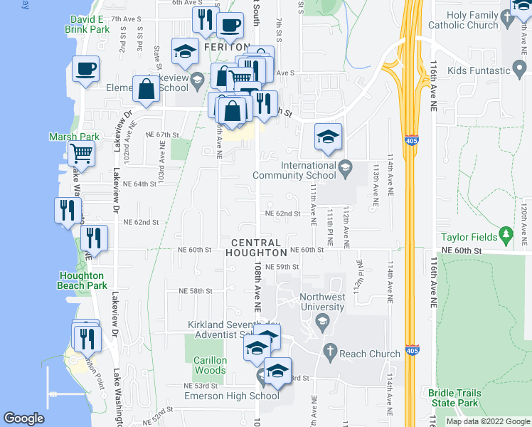 map of restaurants, bars, coffee shops, grocery stores, and more near 10811 Northeast 62nd Street in Kirkland