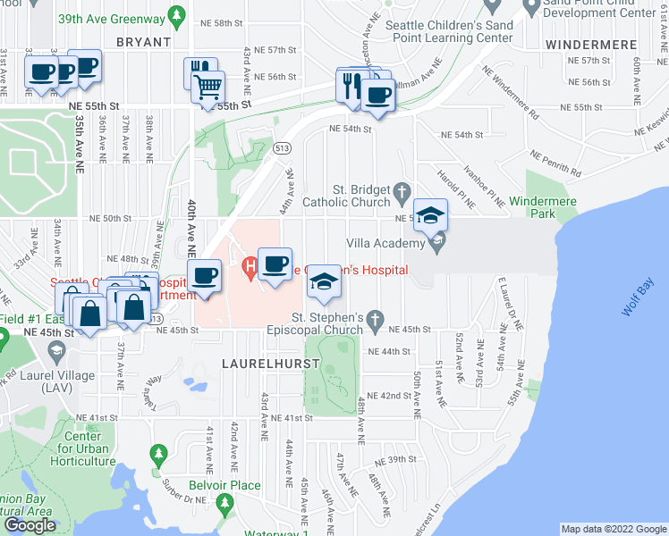 map of restaurants, bars, coffee shops, grocery stores, and more near 4606 Northeast 47th Street in Seattle