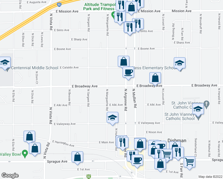 map of restaurants, bars, coffee shops, grocery stores, and more near 8910 East Broadway Avenue in Spokane Valley