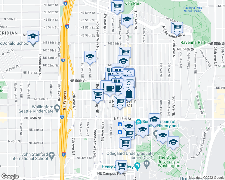 map of restaurants, bars, coffee shops, grocery stores, and more near 4701 Brooklyn Avenue Northeast in Seattle