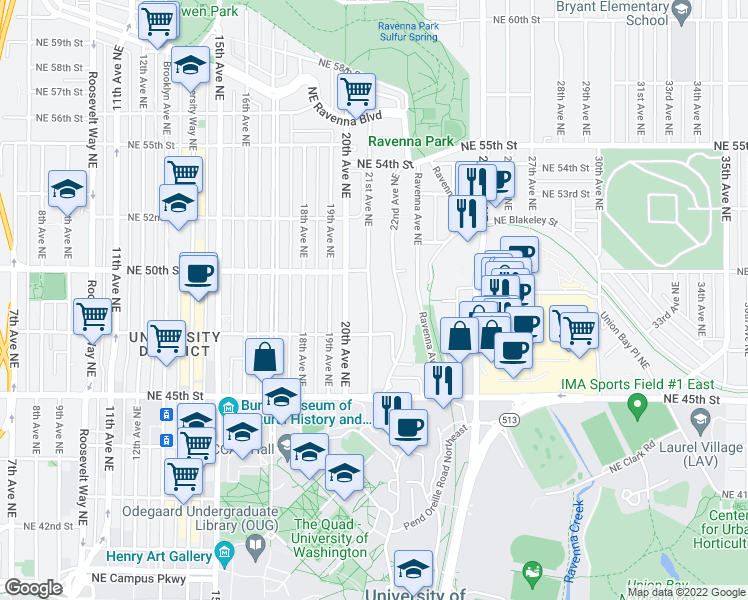 map of restaurants, bars, coffee shops, grocery stores, and more near 4730 21st Ave NE # 201 in Seattle