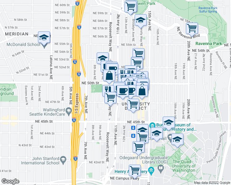 map of restaurants, bars, coffee shops, grocery stores, and more near 4741 11th Avenue Northeast in Seattle