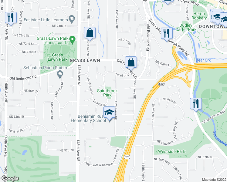 map of restaurants, bars, coffee shops, grocery stores, and more near 6511 152nd Avenue Northeast in Redmond
