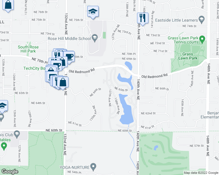 map of restaurants, bars, coffee shops, grocery stores, and more near 6582 137th Avenue Northeast in Redmond
