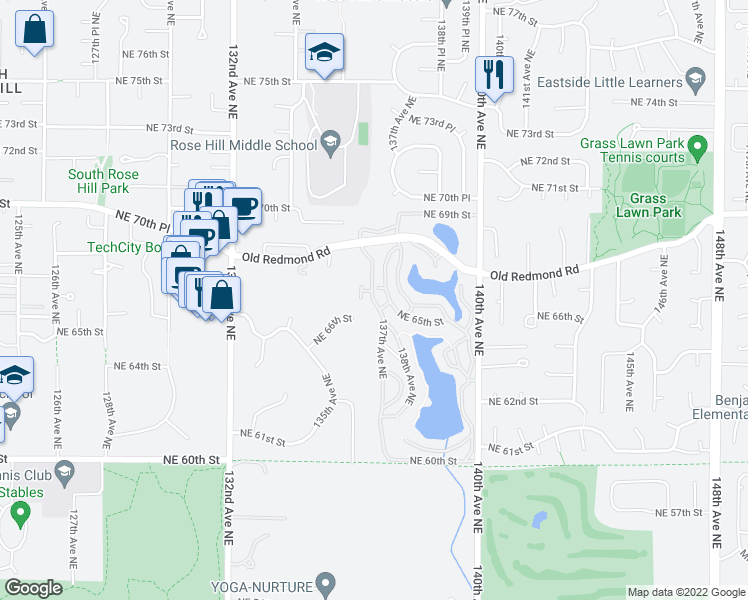 map of restaurants, bars, coffee shops, grocery stores, and more near 6742 137th Avenue Northeast in Redmond