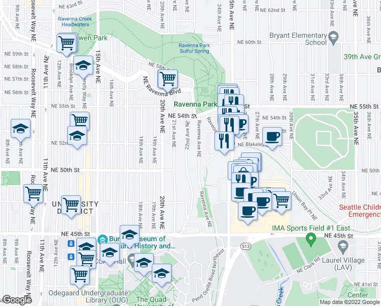 map of restaurants, bars, coffee shops, grocery stores, and more near 5032 22nd Avenue Northeast in Seattle