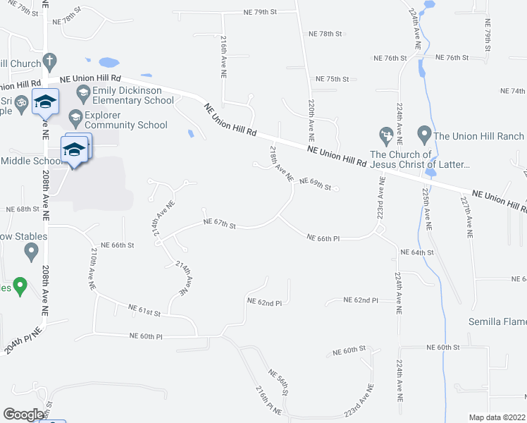 map of restaurants, bars, coffee shops, grocery stores, and more near 21648 Northeast 67th Street in Redmond