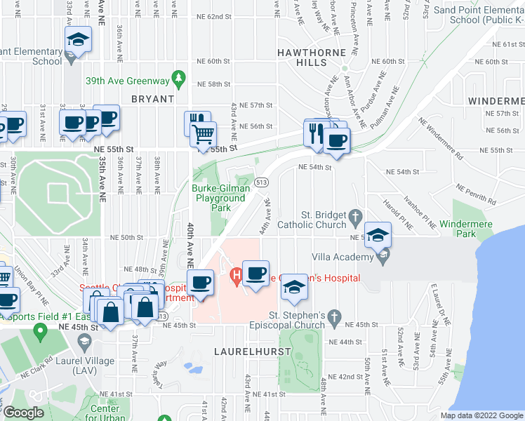map of restaurants, bars, coffee shops, grocery stores, and more near 5033 44th Avenue Northeast in Seattle