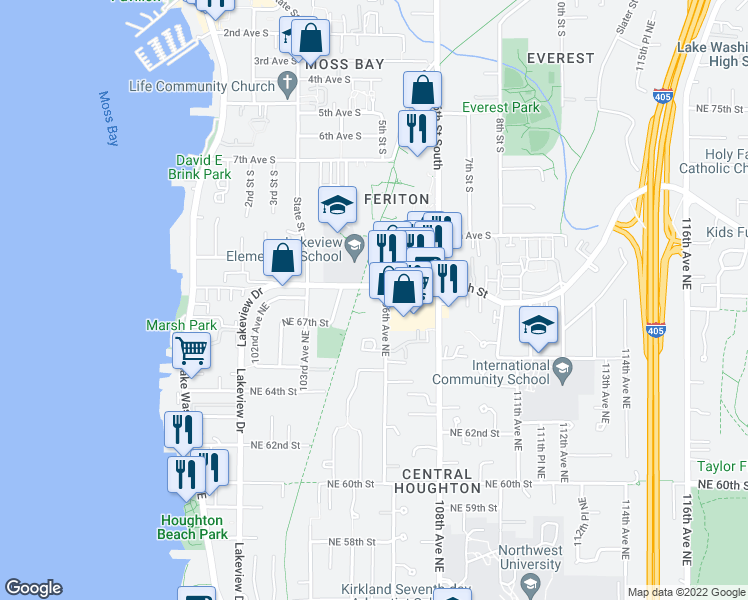 map of restaurants, bars, coffee shops, grocery stores, and more near 6719 106th Avenue Northeast in Kirkland