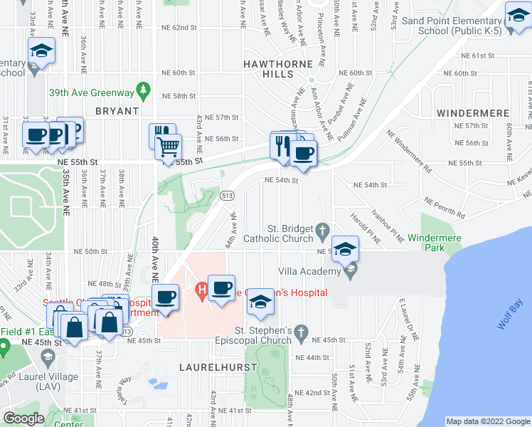map of restaurants, bars, coffee shops, grocery stores, and more near 5112 46th Avenue Northeast in Seattle