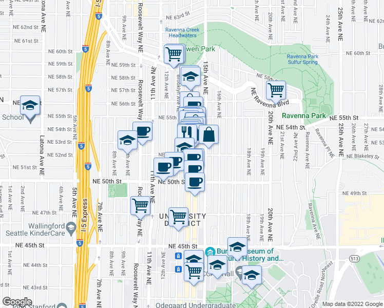 map of restaurants, bars, coffee shops, grocery stores, and more near 5200 University Way Northeast in Seattle
