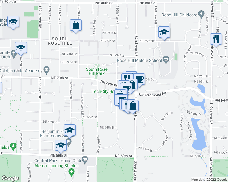 map of restaurants, bars, coffee shops, grocery stores, and more near 6600 130th Avenue Northeast in Kirkland