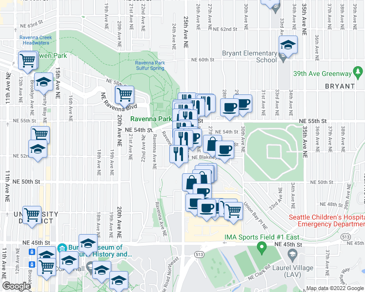 map of restaurants, bars, coffee shops, grocery stores, and more near 5101 25th Avenue Northeast in Seattle