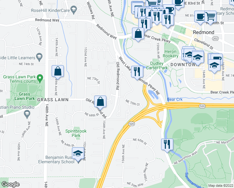 map of restaurants, bars, coffee shops, grocery stores, and more near 7060 155th Place Northeast in Redmond