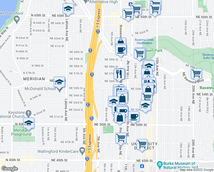 map of restaurants, bars, coffee shops, grocery stores, and more near 812 Northeast 55th Street in Seattle