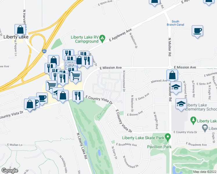 map of restaurants, bars, coffee shops, grocery stores, and more near 22809 Country Vista Drive in Liberty Lake