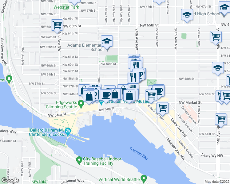 map of restaurants, bars, coffee shops, grocery stores, and more near 2610 Northwest 56th Street in Seattle