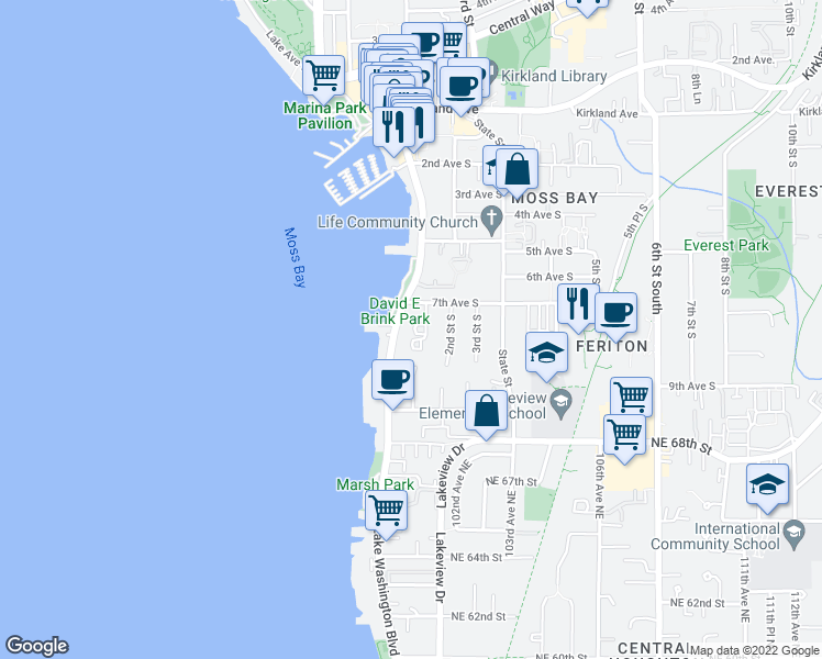 map of restaurants, bars, coffee shops, grocery stores, and more near 725 1st Street South in Kirkland