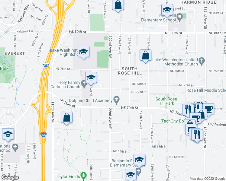 map of restaurants, bars, coffee shops, grocery stores, and more near 12205 Northeast 73rd Street in Kirkland