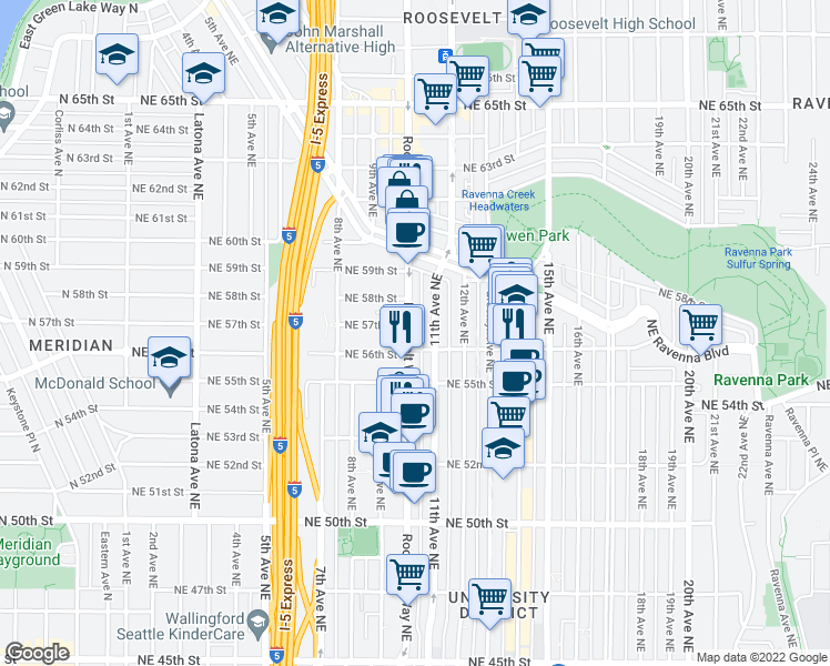 map of restaurants, bars, coffee shops, grocery stores, and more near 5612 Roosevelt Way Northeast in Seattle