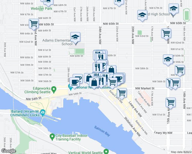 map of restaurants, bars, coffee shops, grocery stores, and more near 2411 Northwest 57th Street in Seattle
