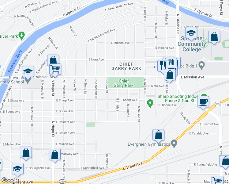 map of restaurants, bars, coffee shops, grocery stores, and more near North Smith Street in Spokane