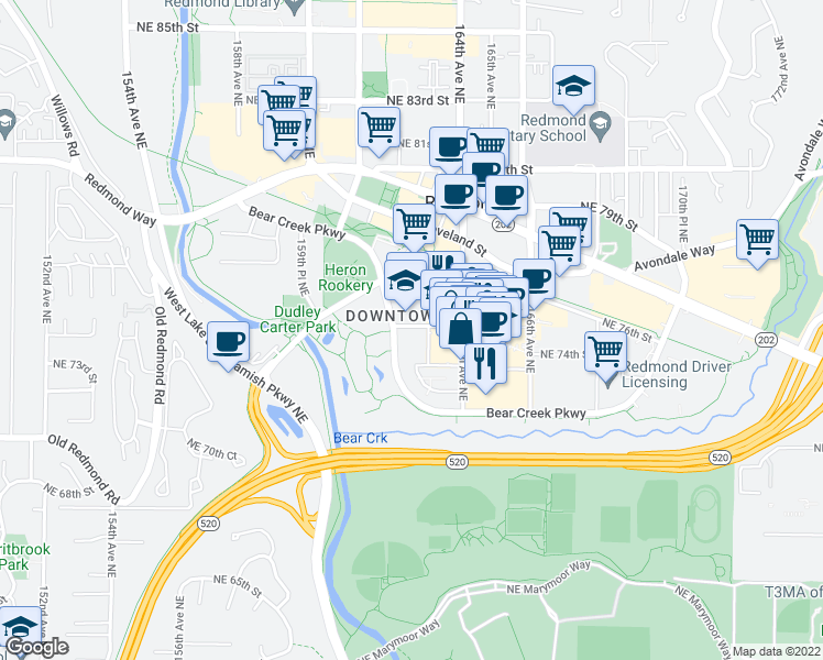 map of restaurants, bars, coffee shops, grocery stores, and more near Bear Creek Parkway in Redmond