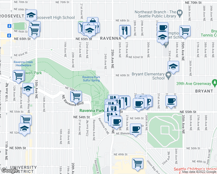 map of restaurants, bars, coffee shops, grocery stores, and more near 5733 25th Avenue Northeast in Seattle