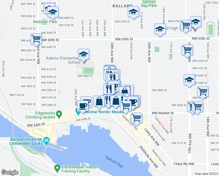 map of restaurants, bars, coffee shops, grocery stores, and more near 5803 24th Avenue Northwest in Seattle