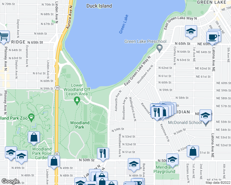 map of restaurants, bars, coffee shops, grocery stores, and more near 5744 East Green Lake Way North in Seattle