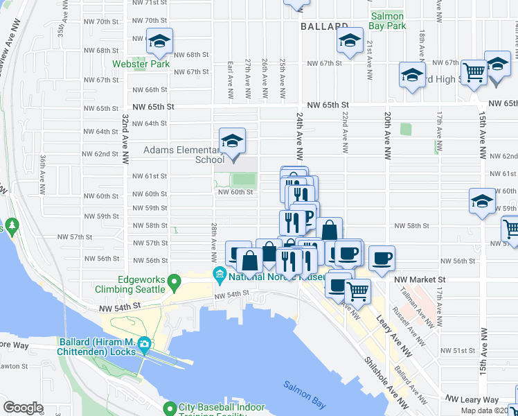 map of restaurants, bars, coffee shops, grocery stores, and more near 26th Ave NW & NW 59th St in Seattle
