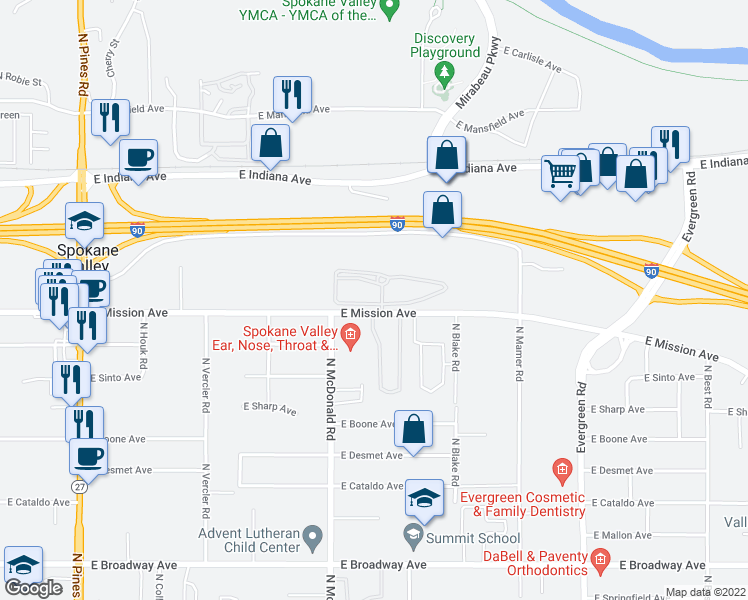 map of restaurants, bars, coffee shops, grocery stores, and more near 13303 East Mission Avenue in Spokane Valley
