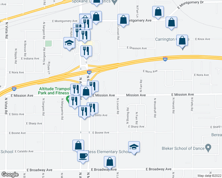 map of restaurants, bars, coffee shops, grocery stores, and more near 9407 East Mission Avenue in Spokane