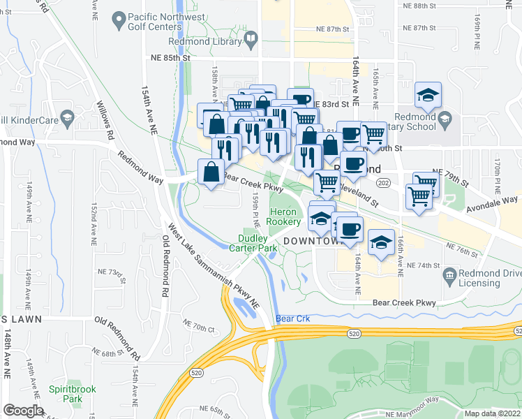 map of restaurants, bars, coffee shops, grocery stores, and more near 7508 159th Place Northeast in Redmond