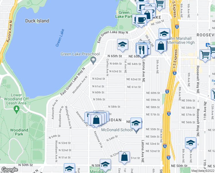 map of restaurants, bars, coffee shops, grocery stores, and more near Corliss Avenue North & North 61st Street in Seattle