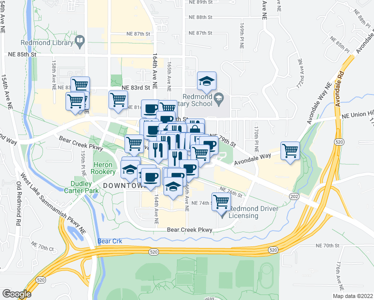 map of restaurants, bars, coffee shops, grocery stores, and more near Redmond Way in Redmond