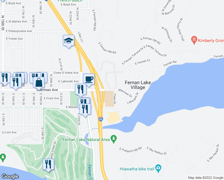 map of restaurants, bars, coffee shops, grocery stores, and more near 2502 East Sherman Avenue in Coeur d'Alene