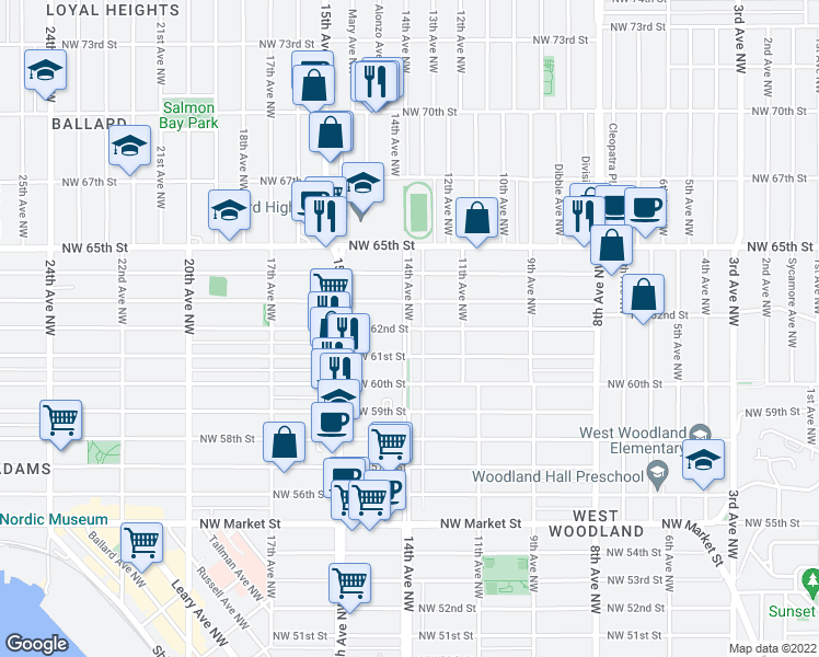 map of restaurants, bars, coffee shops, grocery stores, and more near 14th Avenue Northwest & Northwest 62nd Street in Seattle
