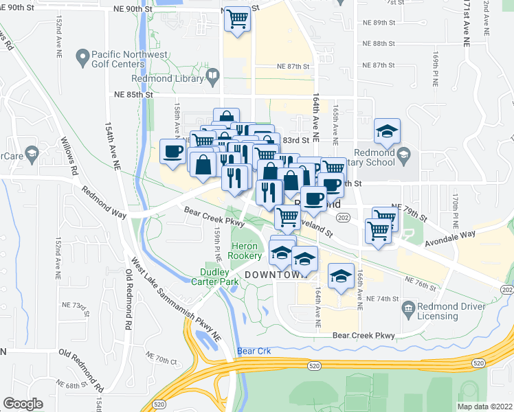 map of restaurants, bars, coffee shops, grocery stores, and more near 161st Avenue Northeast in Redmond