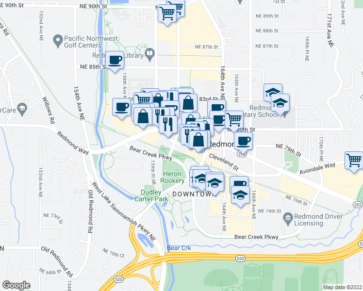 map of restaurants, bars, coffee shops, grocery stores, and more near 16175 Cleveland Street in Redmond